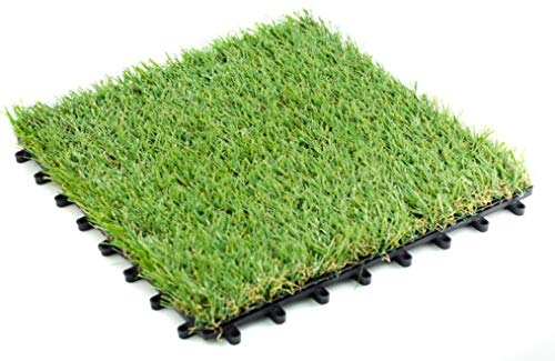 Pet Zen Garden Premium Artificial Grass Interlocking Tile w/ Drainage Holes | 4-Tone Synthetic Grass Tile | Height of Tile with Grass Blades - 35mm | Extra-Heavy & Soft Pet - Link Interlocking
