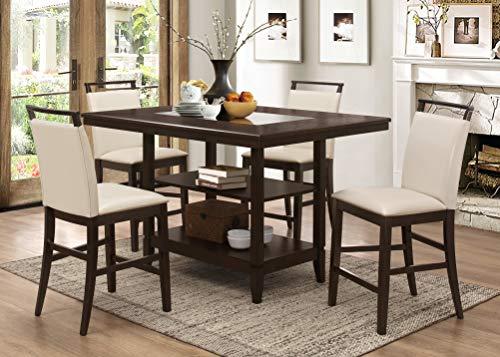 Best Master Furniture WA1811 Waverly 5 Pcs Counter Set, Espresso