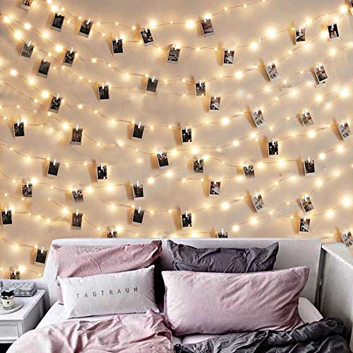 AOSTAR Photo Clip String Lights - 50 LED 17 Ft Battery Operated Fairy Lights with Clear Clips, Photo Lights Hanging Lights for Bedroom Wedding Indoor Outdoor Valentines Day Decoration (Lights Christmas Tumblr Snow)