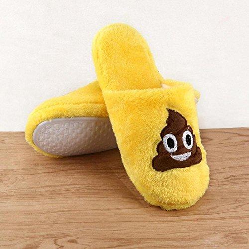 Indoor Slippers, FTXJ Mens Women Emoji Warm Soft Stuffed Household Floor Shoes C