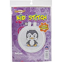 Janlynn Kid Stitch 11 Count Penguin Mini Counted Cross Stitch Kit, 3-Inch