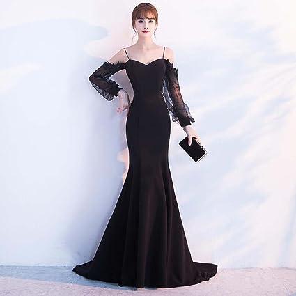 Vestido De Noche Larga Sección Banquete Sexy Negro Vestido