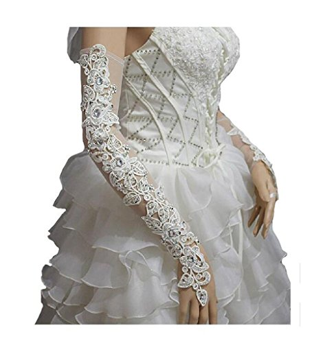 YSFS Women's Lace Fingerless Bridal Gloves For Wedding Party