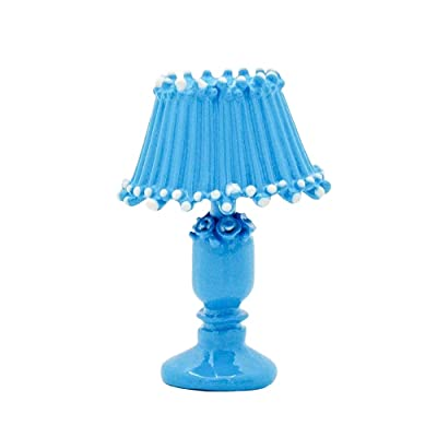 Odoria 1:12 Miniature Vintage Blue Table Lamp Dollhouse Decoration Accessories: Toys & Games