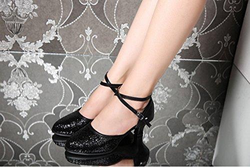 Pour Tmkoo Salle Bal Color Femmes D'été Les Argent amp; Chaussures Taille Latine Noir Adultes 40 Quadrille Danse De 1qrqtvPO