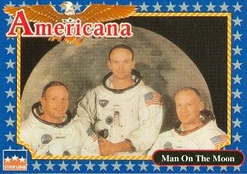 Apollo II trading card Neil Armstrong Buzz Aldrin Michael Collins (NASA Astronauts Moon Space) 1992 Americana History #3 from Autograph Warehouse