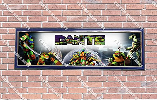 Personalized Customized Ninja Turtles Poster With Frame, With Your Name On It, Party Door Poster, Room Art Decoration, Wall Decor
