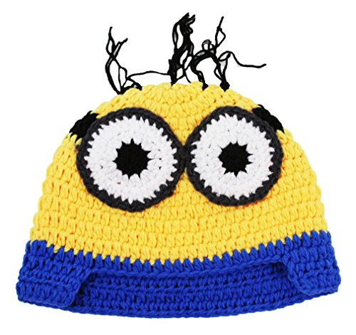 Wholesale Princess Character Inspired Minions Plush Crochet Hats (Small, Yellow (Two -