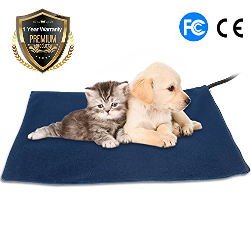 Cat Heat Pad Most Safety Designed Warming Mat Dogs Cats Furos Rabbits Heated Pad Waterproof Comfortable Chew Resistant Adjustable Temperature Low Voltage 15v (blue)