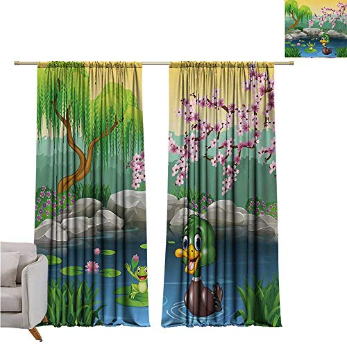 (DESPKON-HOME Curtain for Bedroom,Cartoon Vector Cute Ducks Frogs in a Lake Pond Trees Image Kids Nursery Design Artwork Grommet Curtain Doorway (96W x 72L inch,Multicolor))