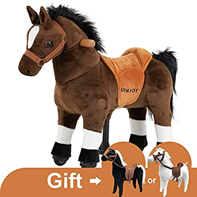 Uenjoy Riding Horse for Kids Ride on Horse Toy, Pony Rider Mechanical Walking Action Animal,No Battery or Electricity, Giddy up, for Children 3 to 5 Years, Weight Capacity 132LBS, Small Size, Brown: Toys & Games