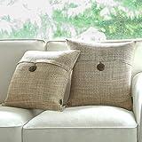 Phantoscope Set of 2 Button Beige Linen Decorative Throw Pillow Case Cushion Cover 18'X18 -New!!