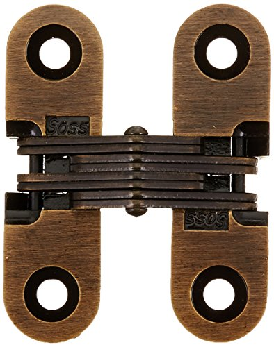 - SOSS 203 Zinc Invisible Hinge with Holes for Wood or Metal Applications, Mortise Mounting, Antique Brass Exterior Finish (Pack of 2)