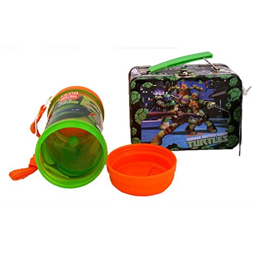 2 TMNT Bundle: Teenage Mutant Ninja Turtles Sip-N-Snack Canteen Water Canteen With Snack Storage Compartment, Carrying Strap and 3D Molded Small Tin Box 48 Pc Puzzle Game (Blue Ninja Turtle Name)