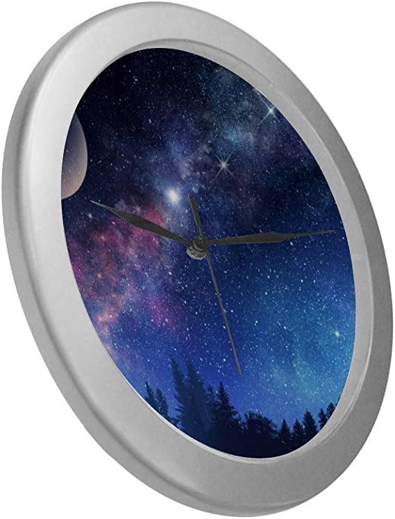Lipink Hanging Wall Clock Milky Way And Starry Night Sky Girls Room Wall Clock 9 65 Inch Silver Quartz Frame Decor For Office School Kitchen Living Room Bedroom Home Kitchen Amazon Com