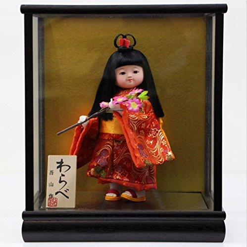 5号わらべ人形さくら木製枠ガラスケース飾り   B00NYOR3JA