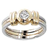 0.25 CT TW Two Tone Bezel Set Diamond Anniversary Wedding Ring in 14k Gold - Size 8