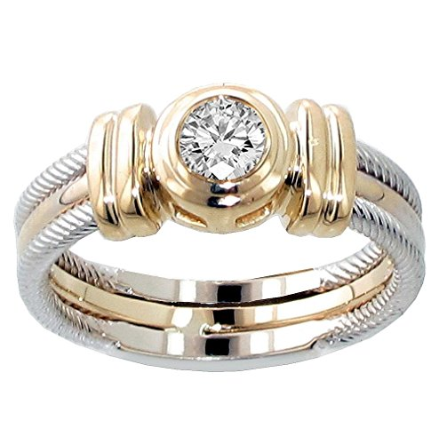 VIP Jewelry Art 0.25 CT TW Two Tone Bezel Set Diamond Anniversary Wedding Ring in 14k Gold - Size 8 Bezel Set Diamond Band