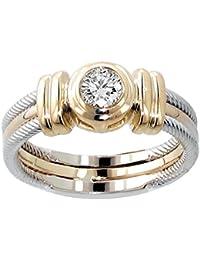 025 ct tw two tone bezel set diamond anniversary wedding ring in 14k gold - Wedding Rings Amazon