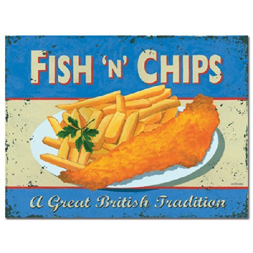 MDME Eletina British Pub Wall Art Fish and Chips Metal Signtin Chips