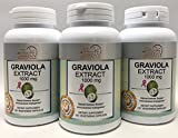 GRAVIOLA Extract 1000 mg 2 Capsules – 3 Bottles – 120 Vegetarian Capsules Per Bottle For Sale