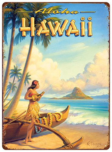 Hawaii Tin (Pacifica Island Art 12in x 16in Vintage Hawaiian Tin Sign - Aloha Hawaii by Kerne Erickson)