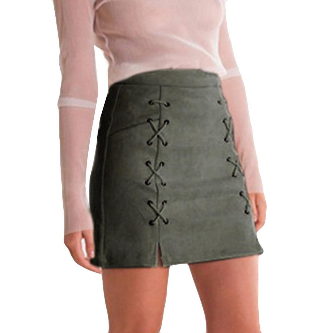 af96e33ed3 WILLTOO Womens Sexy High Waist Faux Suede Lace up Bodycon Tight Mini Skirt  at Amazon Women's Clothing store: