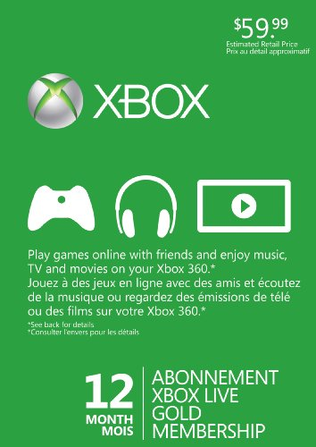 Microsoft Xbox 360 Live 12 Months Gold Card (Month 12 Live Xbox)