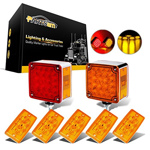 (Partsam 5pcs 6LED Amber Cab Marker Roof Light + 2pcs 52LED Amber/Red Fender Side Marker LED Stop Turn Signal Light Square Dual Double Face Truck Trailer Lights Replacement for Freightliner Volvo)