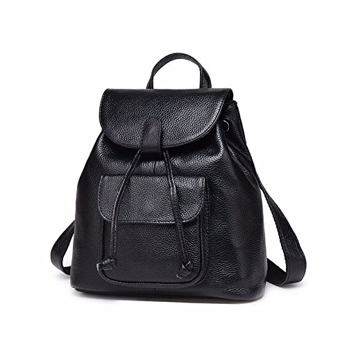 Nueva moda de cuero bolso mochila,Black Black