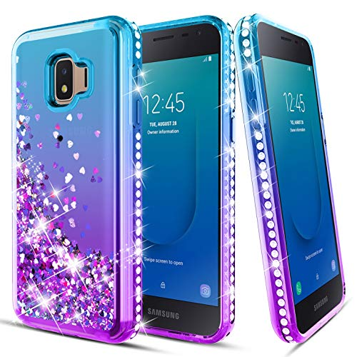 (Samsung Galaxy J2 2019 Case,J2 Core/J2 Dash/J2 Pure/SM-J260/J2 Shine Phone Case with Screen Protector Glitter Liquid Floating Quicksand Diamond Sparkle Shockproof Cover for Girls Women,Teal/Purple)