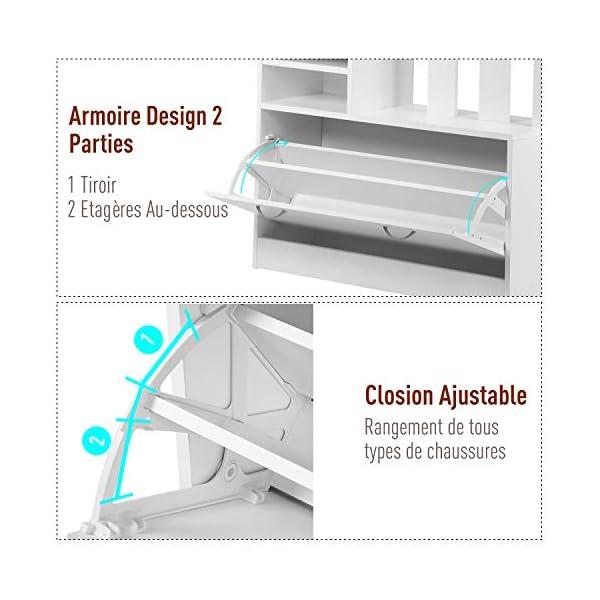 HOMCOM Ensemble de Meubles d'entrée Design Contemporain : Meuble Chaussures, Miroir et Panneau Porte-Manteau Panneaux de…