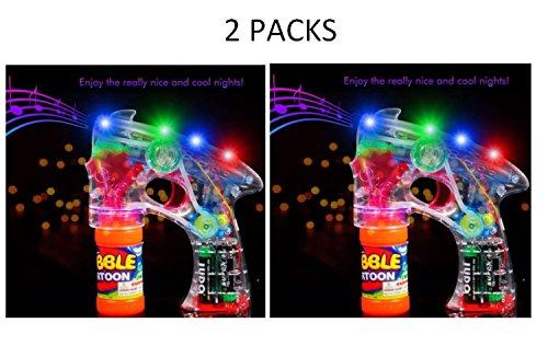 - Bubble Blower Machine Light Up Bubble Gun Blaster, - Cool and Fun LED toy Blaster Bubble Gun Blower - Novelty & Gag Toys, Party Favor, Bag Stuffer, Giveaway, Gifts, (2 Light up Bubble Gun Blaster)