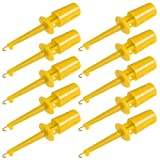uxcell® 10 Pcs 42mm Length Test Hook Clip Solderable for Multimeters PCB Tester Grabber Yellow