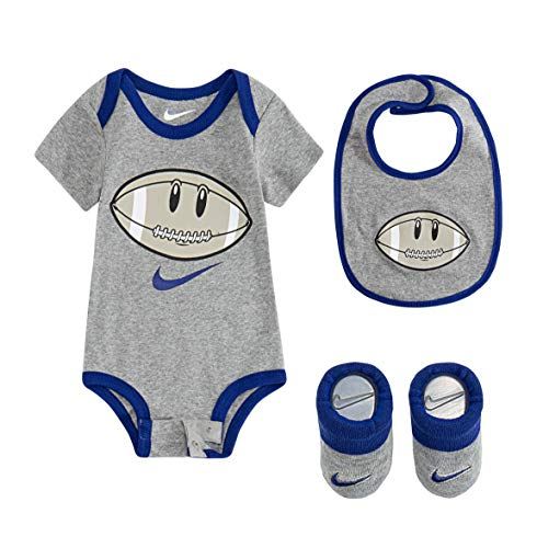 Nike Baby Boys Just Do It Bodysuit, Hat, Bib Set (0-6 Months, Heather Reflex(LN0203-042) Blue)