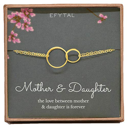 - EFYTAL Mother Daughter Bracelet, Goldtone Two Interlocking Infinity Circles, Mothers Day Jewelry Gift Ideas