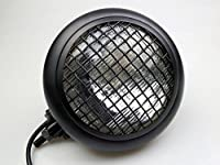 Matte Black Mesh Grill Retro Billet Steel Headlight for Harley Chopper Custom H4 Streetfighter Cafe Racer
