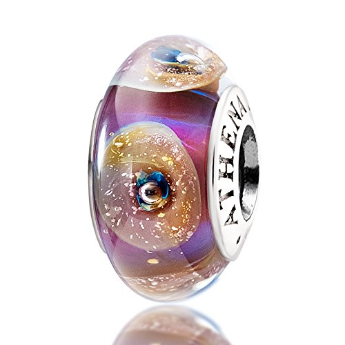 ATHENAIE Murano Glass 925 Sterling Silver Core Purple Gold Seashell Charms Bead for European Bracelets