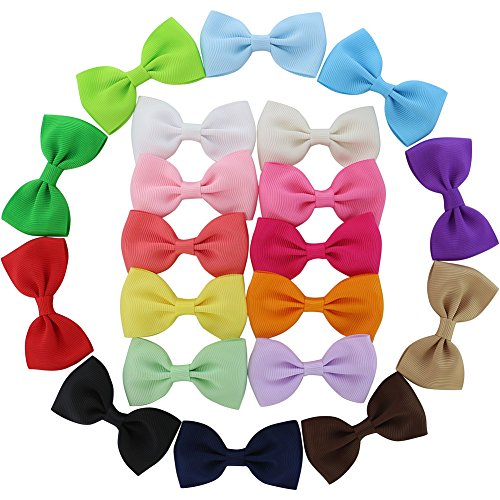 QingHan 20 Pcs Baby Girl Boutique Grosgrain Ribbon Hair Bows Alligator Clips For Teens Kids Toddlers Children Pack of (Kids Bows)