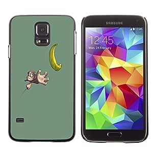 Caucho caso de Shell duro de la cubierta de accesorios de protección BY RAYDREAMMM - Samsung Galaxy S5 SM-G900 - Funny Cute Banana Monkey
