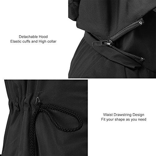 Donna Active Trench Outdoor Antipioggia Cappuccio Impermeabili Nero Con Unbrand Da Giacca PS8xq5nXI