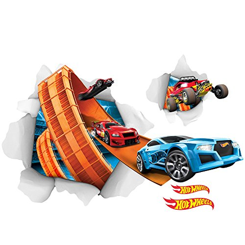 Hot Wheels Wall Accent - Hot Wheels Large Cars Busting In Wall Decal Set