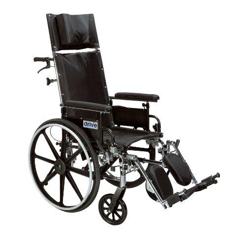- Drive Medical Viper Plus GT Full Reclining Wheelchair, Detachable Desk Arms, 20