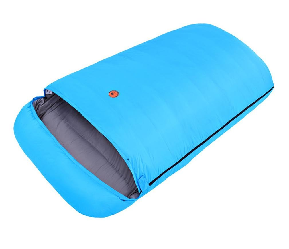 Duck Down Camping Sleeping Bag Double 1800g Built-In Storage Bag -10?--20? , light blue
