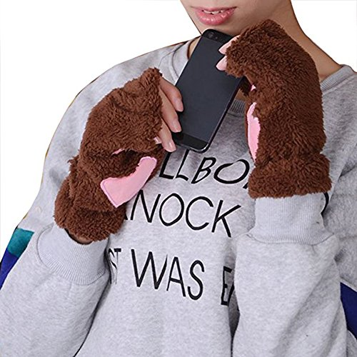 Women Bear Plush Cat Paw Half Cover Fingerless Gloves Soft Thick Winter Mittens Coffee