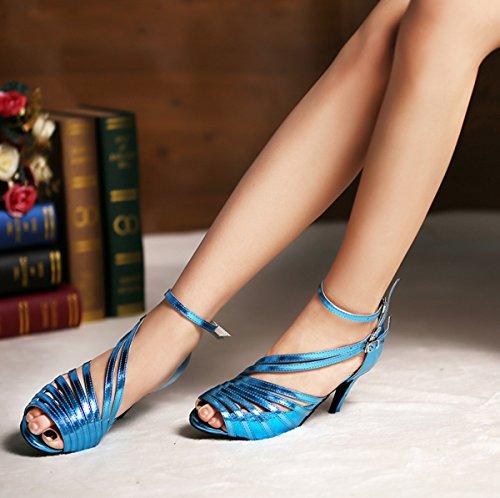 per da nbsp;donna salsa Heel in balli da QJ6105 pelle Blue tango e latini spuntato ballo modello Minitoo ideali sandali 10cm liscio wqXP47I