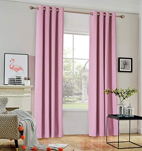 TEMNETU Noise Reducing Curtains,Blackout Thermal Insulated Window Certain Panels for Room Divider/Living Room,2 Panels. (Pink, W52x84L)