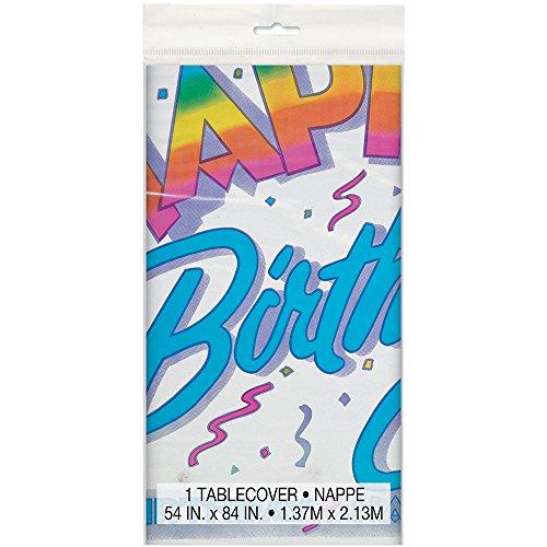 Retro Rainbow Birthday Plastic Tablecloth, 84