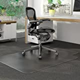 Deflect-o DuraMat Chairmat - Carpeted Floor - 53'' Length x 45'' Width - 12'' Length x 25'' Width Lip - Vinyl - Clear