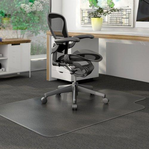 Deflecto CM13233 DuraMat Chair Mat for Low Pile Carpet, 45 x 53 w/Lip, Clear